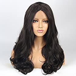 vvBing Half Hand Tied Synthetic Lace Front Wigs Body Wave Long Hair Heat Resistant Fibers Glueless 250% Density Nature Hairline with Baby Hair 20inch Lace Front Wig Color Dark Brown Long Wig