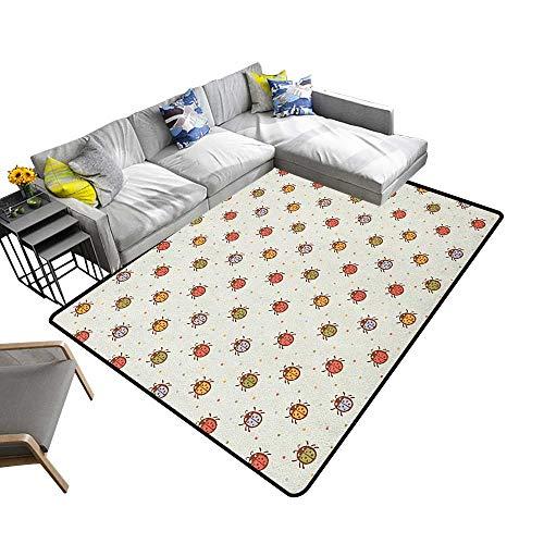 Ladybugs Custom Pattern Floor mat Pastel Color Vintage Stylized Faded Bugs Setting Nostalgic Good Luck Childhood Theme 78