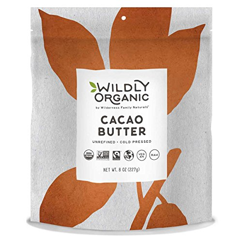 Raw Cacao Butter - Fairtrade certified & USDA Organic, Non-GMO, Kosher, Vegan - Smooth & Delicious- Wildly Organic - 8 Ounces