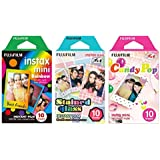 Fujifilm Instax Mini Instant Film Rainbow & Staind Glass & Candy Pop Film -10 Sheets X 3 Assort Value Set(with Values Japan O