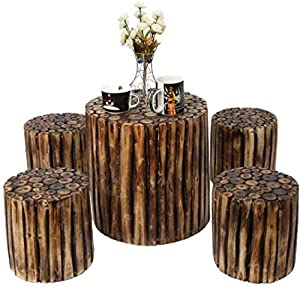 Onlineshoppeeâ bloque de madera wooden round coffee table with 4 stool