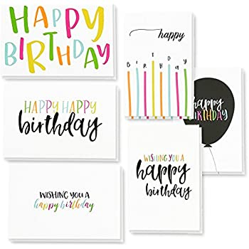 48 pack happy birthday greeting cards 6 handwritten modern style colorful designs bulk box set variety assortment envelopes included 4 x 6 inches - Assorted Birthday Cards In Bulk
