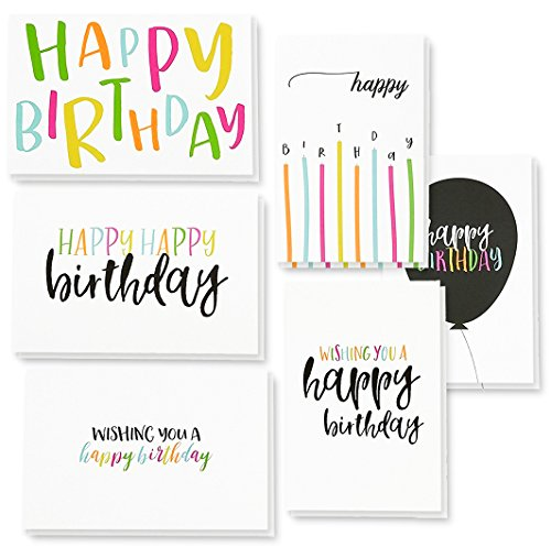 - 48 Pack Happy Birthday Greeting Cards, 6 Handwritten Modern Style Colorful Designs, Bulk Box Set Variety Assortment, Envelopes Included 4 x 6 Inches
