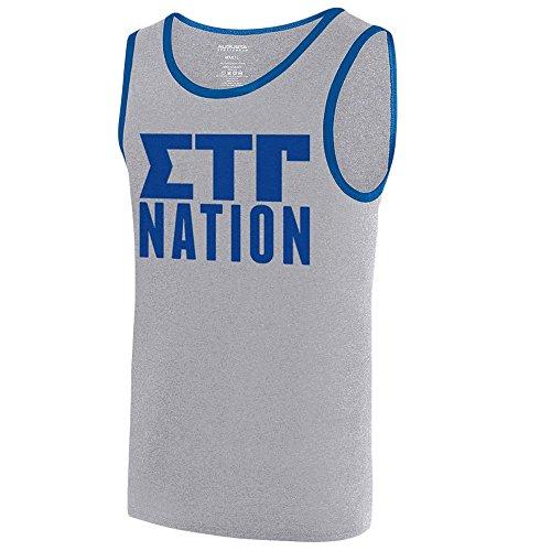 Sigma Tau Gamma Fraternity Nation Ringer Tank Large Athletic Heather/Royal