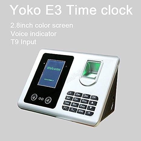 Yoko E3 biométrico de reconocimiento de la cara de la huella digital atención del tiempo Reloj Administrador: Amazon.es: Informática