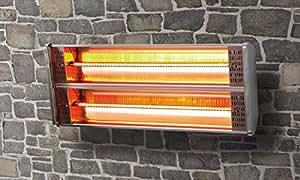 Radiador para terraza Radiador L‡mpara calor'fica Control antihielo Estufa 2400 W Doble Infrarrojo Hal—geno Calefactor Acero inoxidable Marca GS Con Ajustable Soporte de pared Mando a distancia Radiador Iluminaci—n Indirecta Radiador para jard'n Terraza Balc—n Gastronom'a, ElŽctrico Radiador sin Gas Soporte para pared