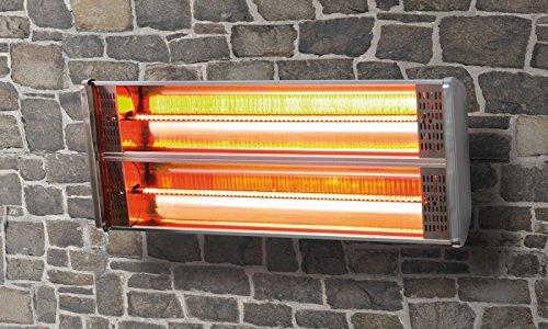 Radiador para terraza Radiador L‡mpara calorfica Control antihielo Estufa 2400 W Doble Infrarrojo Hal-geno Calefactor Acero inoxidable Marca GS Con ...