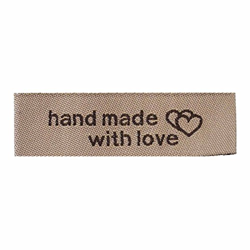 50 Count Handmade Fabric Labels with Interlocking Hearts Light Coffee Color 50mm x 15mm (Sewing Labels)