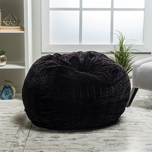 Heavy Metal Inc 299731_New Meridian Bean Bag Plush Faux Fur Chair | Comfortable and Fun Beanbag for The Whole Family| Non-Spill Memory Foam Filling (Black)