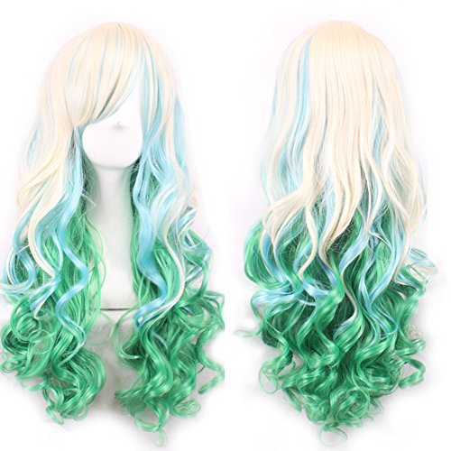 AneShe Gradient Cosplay Anime Wigs Long Curly Harajuku Lolita Style Costume Wigs for Women (Light Blonde/Green)