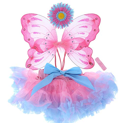 Butterfly Halloween Costumes For Babies (Attitude Studio Fairy Butterfly Costume, Elastic Strap Wings, Tutu, Headband, First Birthday Party Outfit, 1st Photography, Halloween, for Baby Toddler Girls 12-18 Months Pink & Blue (4 pc)