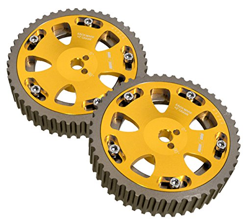 2 Piece Gold Adjustable Cam Shaft Gears For 4g63 Dohc -
