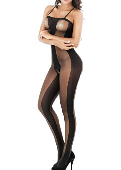 d3fcbc9bc14 Amazon.com  Yuanlar Womens Sexy Lingerie Open Crotch Straps Sheer  Bodystocking Bodysuit Tights  Clothing