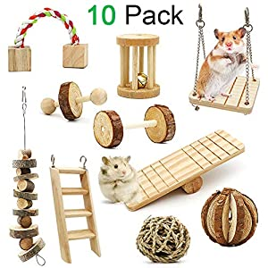 ZALALOVA Hamster Chew Toys, 10Pack MSDS Approved Natural Wooden Pine Guinea Pigs Rats Chinchillas Toys Accessories Dumbells Exercise Bell Roller Teeth Care Molar Toy for Bunny Rabbits Gerbils 32
