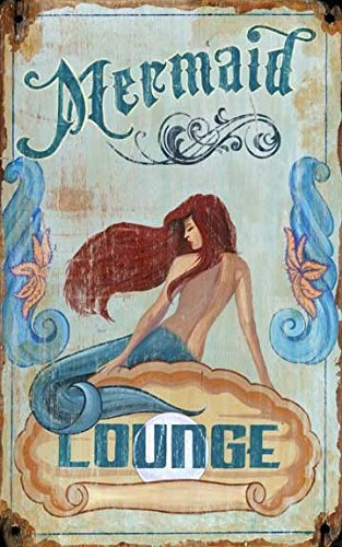 Red Wood Mermaid Lounge Sign Size 15x26