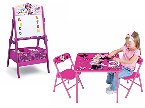 Disney Minnie Mouse Kids Folding Activity/Play Table and Chair Set and Delta Children Minnie Mouse Art Activity Easel with 2 Toy Organizer/Storage Bins, Pink Bundle