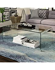 """Take Me Home Furniture Waterfall Glass Coffee Accent Tea Table for Modern Living Room Bedroom 16"""" H x 42"""" W x 20"""" D, Clear (HT9910)"""