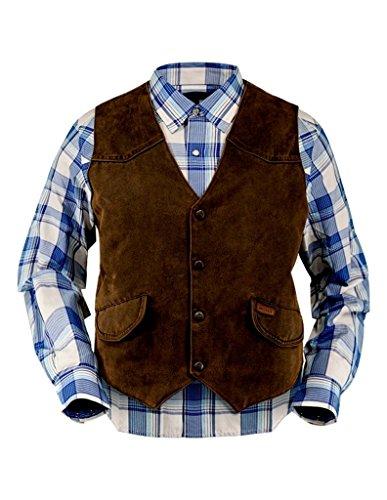 Outback Trading Vest Mens Montana Western Yokes Button 2XL Brown (Western Yoke)