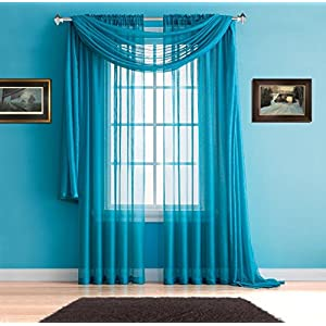 """Warm Home Designs Pair of Premium Quality Extra Long 54 x 108 Inch Sheer Blue Teal Faux-Linen Rod Pocket Curtains. Total Width of Affordable Drape Panels is 108"""". Fit 1.5 Inch Rod. J Teal 108"""""""