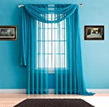 Warm Home Designs Pair of Premium Quality Long 54 x 95 Inch Sheer Blue Teal Faux-Linen Rod Pocket Curtains. Total Width of Affordable Drape Panels is 108''. Fit 1.5 Inch or Smaller Rod. J Teal 95''