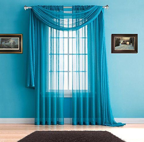 Warm Home Designs Pair of Premium Quality Long 54 x 95 Inch Sheer Blue Teal Faux-Linen Rod Pocket Curtains. Total Width of Affordable Drape Panels is 108
