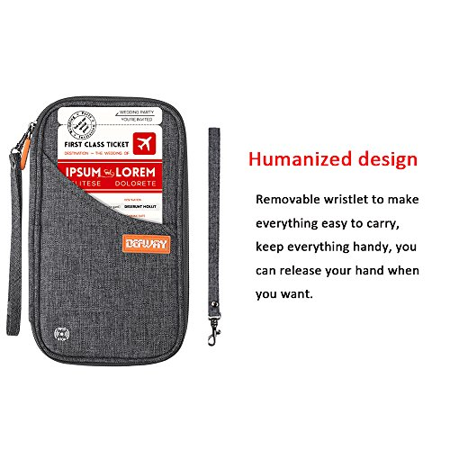 DEW Travel Wallet RFID Blocking Waterproof Document Organizer Credit Card Clutch Bag, Family Passport Holder with Removable Wristlet Strap