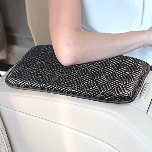 GAMPRO Luxury PU Soft Leather Car Center Console Cushion(11x 8.6 inches) Vehicle Seat Cushions Armrest Pillow Pad for Car Motor Auto Vehicle, Raises Your Center Console (Black2)