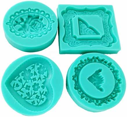 Garwarm 4 Pieces / Set Flower lace Shape 3d DIY Food Grade Silicone Mold Chocolate Candy Making Mold Tools DiameterSize:2.7Inch