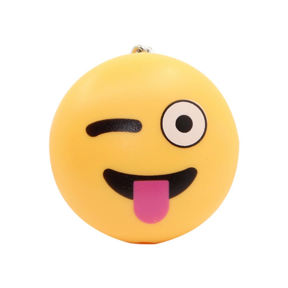 Meiyuan Smile Emoji Key Ring LED Torch Keychain Lights with Sound Bag Hanging Ornament