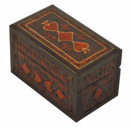 (Classic Suits Wood Playing Card Box)