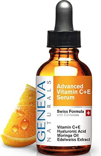 Vitamin C Serum - Natural Swiss Anti-Aging Formula Features Vitamin C+E, Edelweiss Extract, Hyaluronic Acid To Provide Powerful Antioxidants To Promote Youthful and Vibrant Skin For Men & Women - 1oz