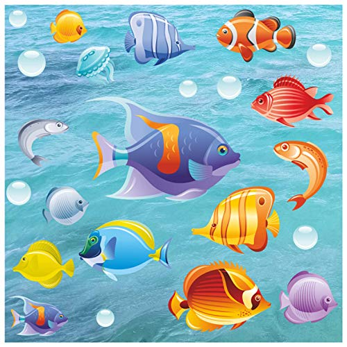 Kids Bathroom Tile - Window - Shower Door or Screen Decorative Tropical Fish Stickers | Double Sided Glass Window clings Removable Colorful Under The sea Collection - No Adhesive Static Cling