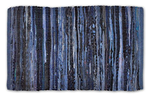 DII Contemporary Reversible Indoor Area Rag Rug, Machine Washable, Handmade from Recycled Fabrics, Unique For Bedroom, Living Room, Kitchen, Nursery and more, 4 x 6' - Nautical Blue