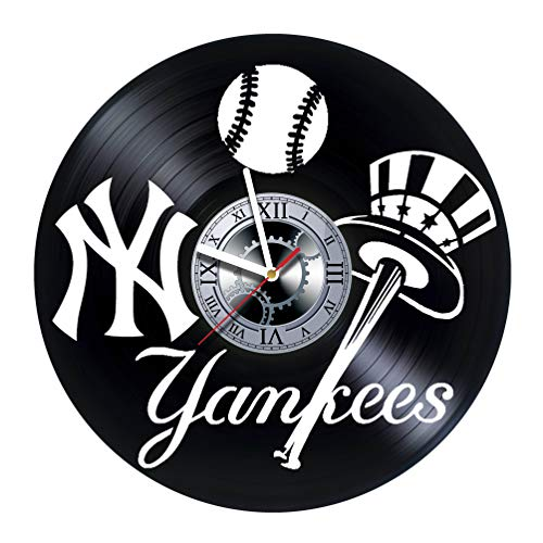 New-York Yankees - Handmade Vinyl Records Wall Clock - Original Present for Fans - Art Room Decor Handmade Decoration Party Supplies Theme Birthday Gift - Vintage and Modern Style