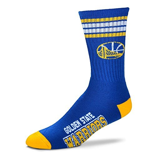 For Bare Feet NBA 4 Stripe Deuce Crew Men Socks-Golden State Warriors-Large (10-13) by For Bare Feet