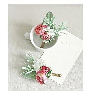 Yokoke Artificial Succulent Boutonniere Bouquet Corsage Wristlet Vintage Silk Fake Pink Flowers flocked Plants For Groom Bride Wedding Decor 2 Pcs 33
