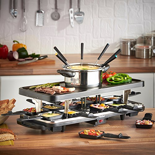 vonshef raclette party grill with 6 fork fondue set and 12 raclette pans buy online in uae. Black Bedroom Furniture Sets. Home Design Ideas