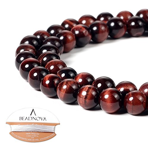 BEADNOVA 8mm Red Tiger Eye Gemstone Round Loose Beads for Jewelry Making (45-48pcs) (Beads Red Eye Tiger)