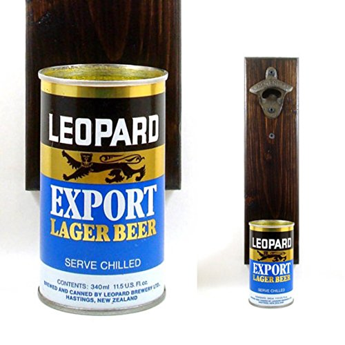 Wall Mounted New Zealand Bottle Opener With A Vintage Leopard Export Lager Beer Can Cap ()