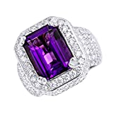 Unique Vintage Style Amethyst and Diamonds Ring 5 Carats in 14k Gold 5ctw G-H Color by Luxurman