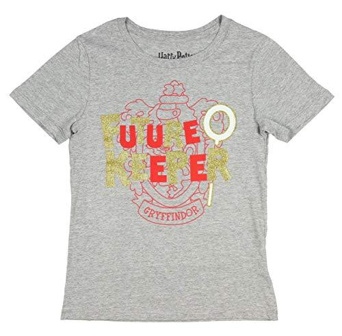 Harry Potter Shirt Girl's Future Quidditch Keeper Gryffindor Glitter Logo Tee LG Grey ()