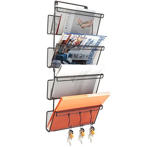Samstar Wall Mount Mail Holder Organizer Magazine Rack, Hanging Metal Mesh File Folder Letter Holder Organizer with 3 Hooks for Office & Home,4 Tier