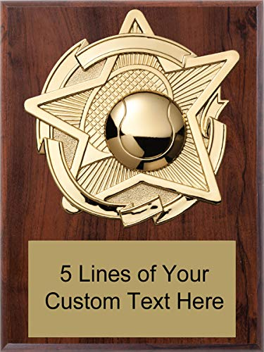 (Express Medals 8 x 10 Cherry Finish Tennis Star Plaque Trophy Award with Custom Engraved Personalized Text D84)