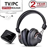 Avantree HT4189 Wireless Headphones for TV Watching & PC Gaming with Bluetooth Transmitter (Optical Digital Audio, 3.5mm Aux, RCA, PC USB), Plug & Play, No Delay, 100ft Long Range, 40hrs Battery