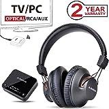 Avantree HT4189 Wireless Headphones for TV Watching, Computer Talking, w/Bluetooth Transmitter (Optical Digital Audio, 3.5mm AUX, RCA, PC USB), Plug & Play, No Delay, 100ft Long Range, 40h Battery