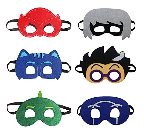 Cartoon Hero Masks Party Supplies Dress Up Costumes Set of 6 Masks for Kids