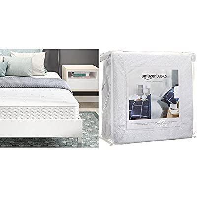 Signature Sleep Contour 8 Inch Reversible Independently Encased Coil Mattress with CertiPUR-US certified foam, Full with AmazonBasics Hypoallergenic Vinyl-Free Waterproof Mattress Protector, Full
