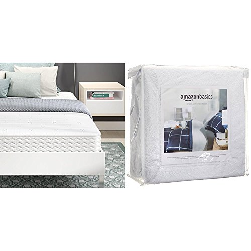 Signature Sleep Contour 8 Inch Reversible Independently Encased Coil Mattress with CertiPUR-US certified foam, Queen with AmazonBasics Hypoallergenic Vinyl-Free Waterproof Mattress Protector, Queen