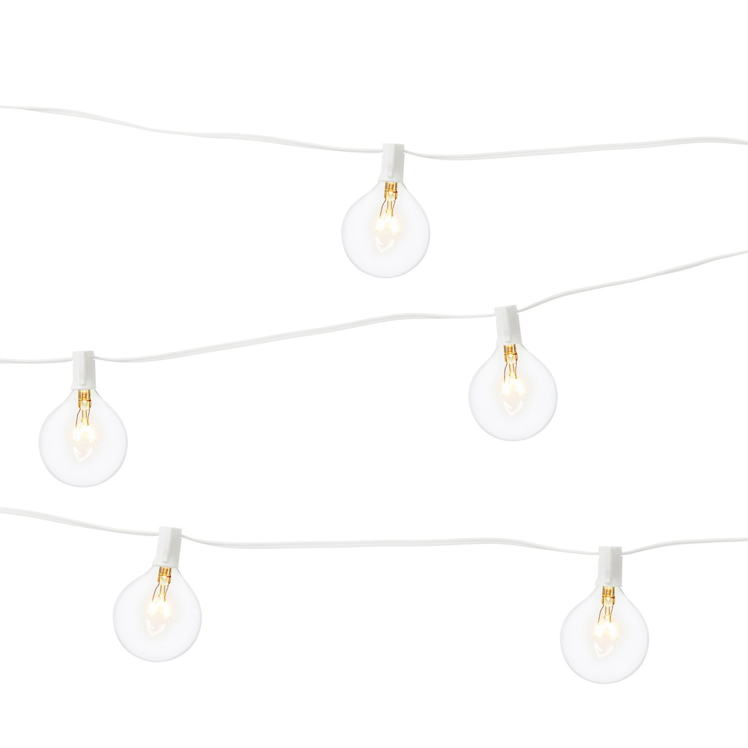 LampLust Bistro Globe String Lights - Outdoor Indoor, G16.5 (G40) Clear Bulbs, 28 Ft. White Wire, Commercial Grade, Connectable, Plugin - UL Listed