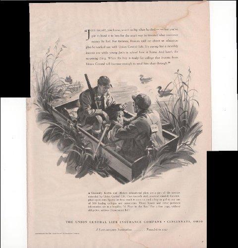 The Union Central Life Insurance Company Cincinnati Oh Men Fishing 1940 Vintage Antique Advertisement